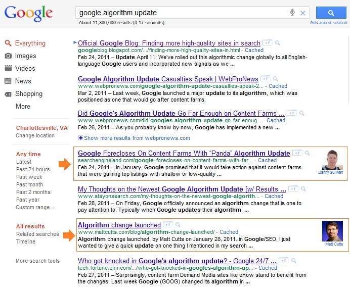 Content Authors in SERPs