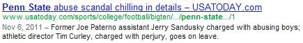 Penn State Scandal SERP