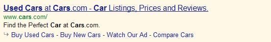 One-Line Ad Sitelinks Example