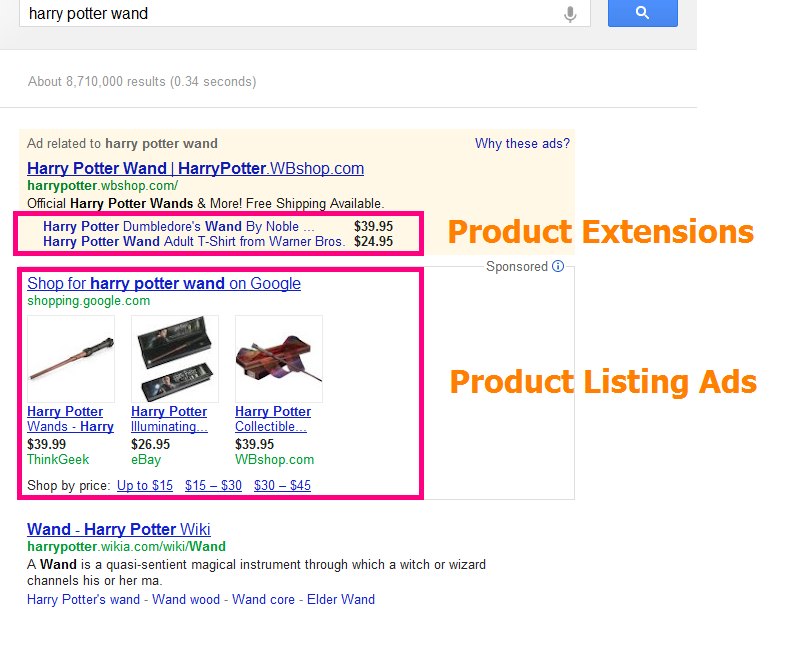 product listing ads vs product extensions