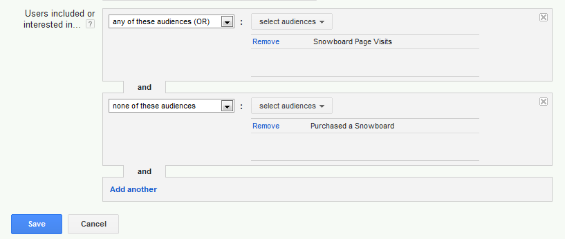 Google AdWords Remarketing Custom Combinations