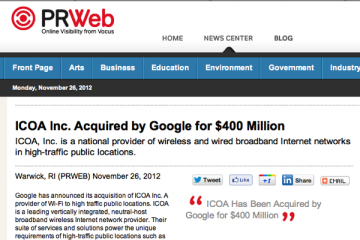 Google ICOA Press Release PRWeb