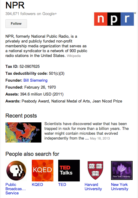 NPR - Google's Knowledge Graph