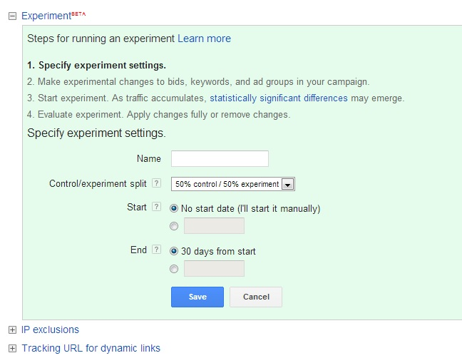 adwords campaign experiments settings