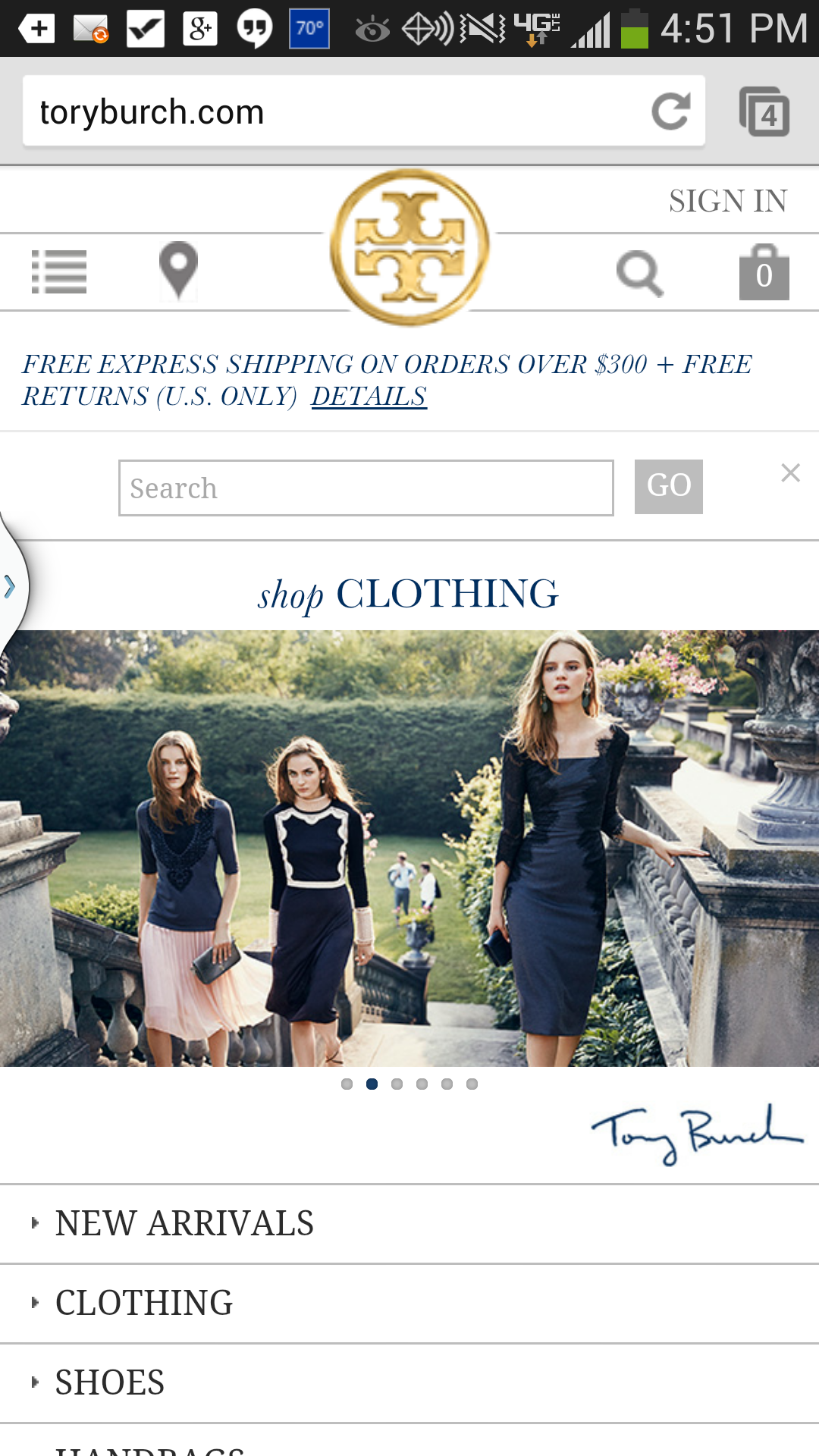 Tory Burch Mobile Site