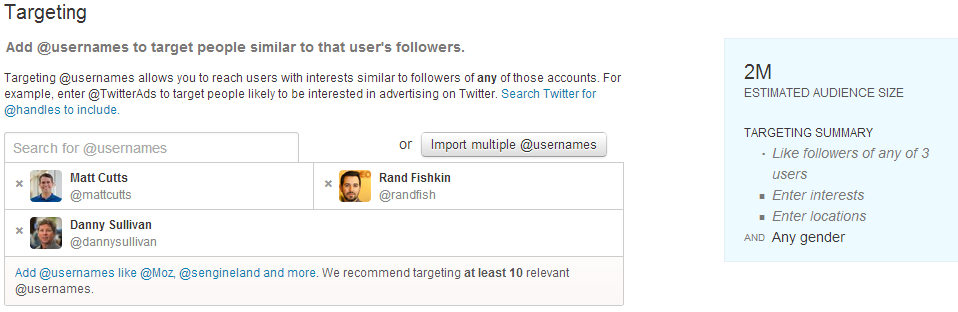 Twitter Ads Interface: Target by User