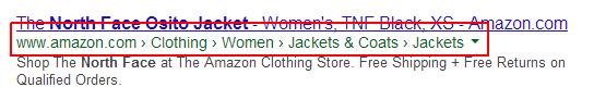 Google Search Breadcrumb result