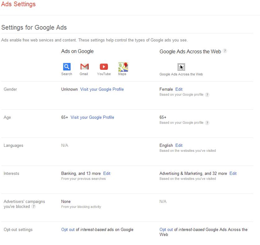 Google User Settings