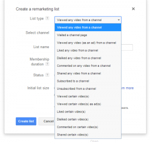 adwords for video remarketing list options