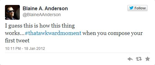 Blaine Anderson first tweet