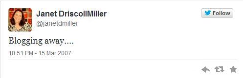 Janet D Miller first tweet