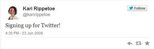 Kari Rippetoe first tweet