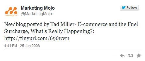 Marketing Mojo first tweet