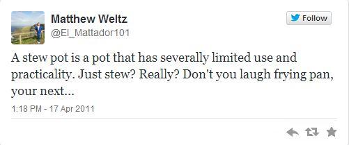 Matt Weltz first tweet