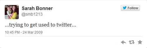 Sarah Bonner first tweet
