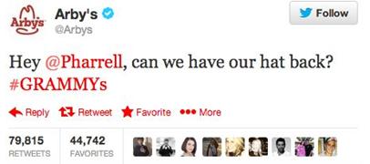 Arby's Tweets Pharrell