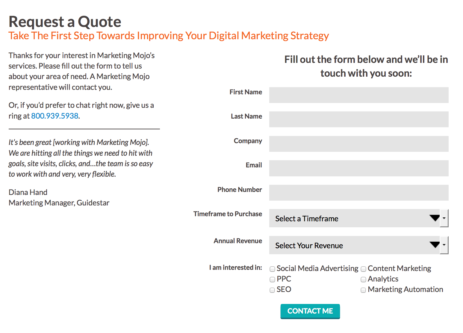 Request For Quote Keeping The Promise Starts With Your Call To Action  Marketing Mojo