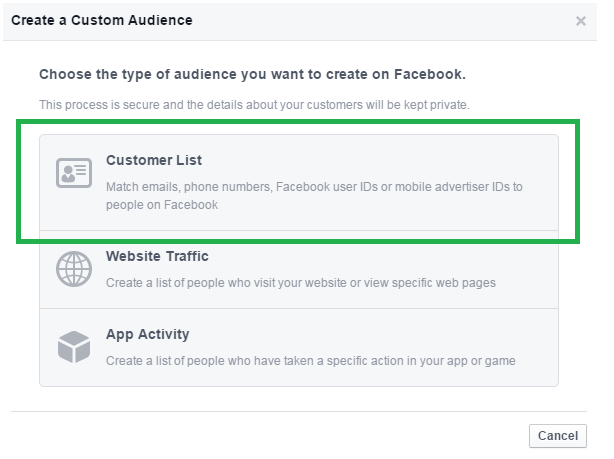 Facebook Custom Audience Customer List