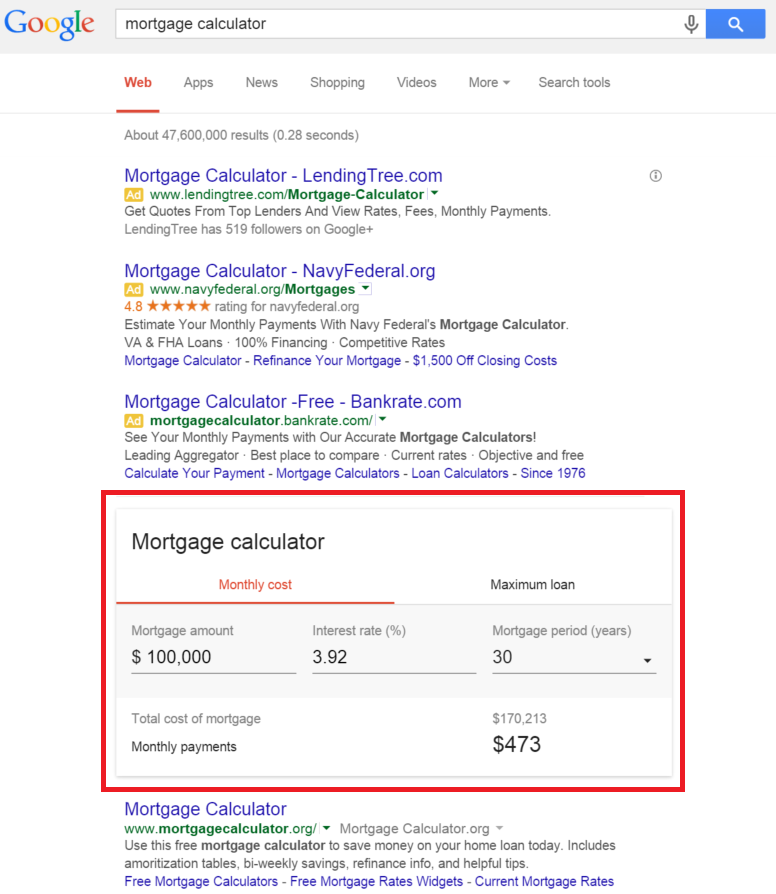 mortgage calculator example - Knowledge Graph and Schema