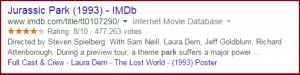 Jurassic Park IMDB rich snippet example on search engine result page