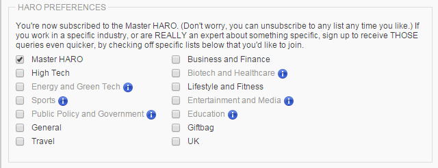 HARO Categories