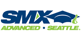smx advanced - seattle logo in blue and green