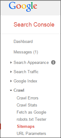 Google Search Console Menu focusing on Sitemaps