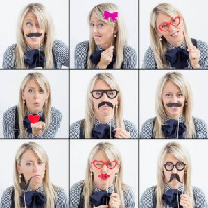 blonde woman makes funny faces in nine different frames
