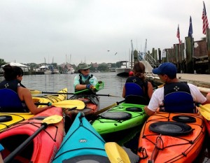 colorful kayaking tour on river
