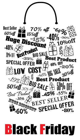 Black Friday shopping bag, made of discounts and special offers