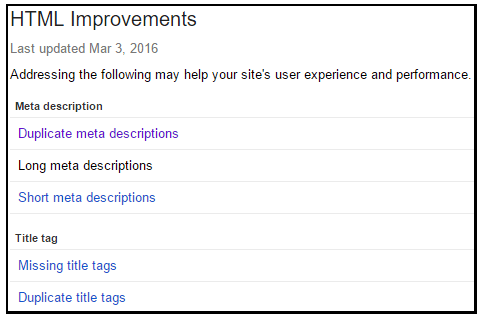 Google Search Console feature - HTML Improvements report details