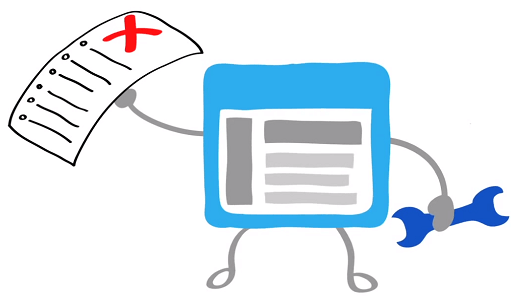 Google Search Console logo - tablet with error report and wrench