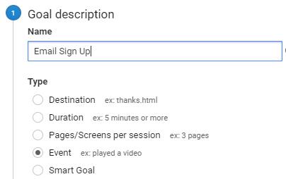 google analytics event goal setup