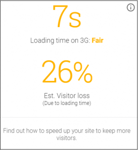 est visitor loss of 26% and loading time on mobile of 7s according to google
