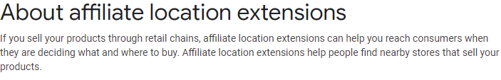 Affiliate Location Extensions